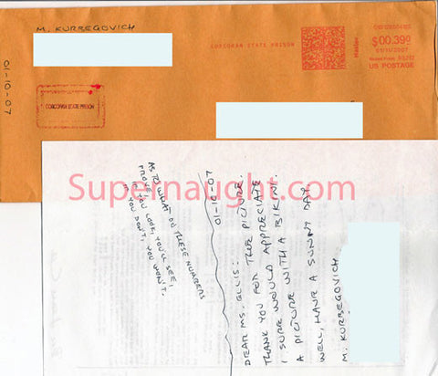 Muharem Kurbegovich note and envelope signed - Supernaught True Crime Collectibles