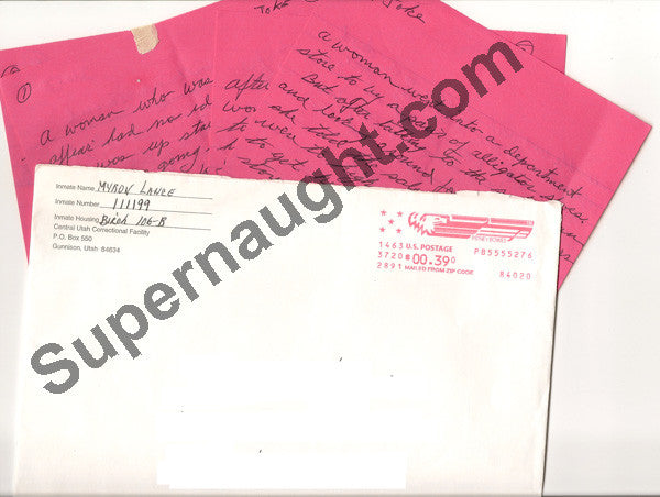 Myron Lance handwritten jokes with envelope signed - Supernaught True Crime Collectibles