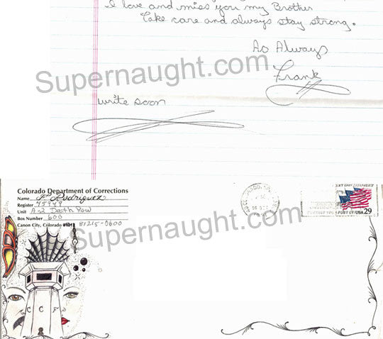 Frank Rodriguez letter envelope set with artwork both signed - Supernaught True Crime Collectibles