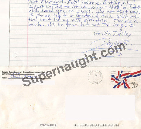 Dayton Rogers Letter and Envelope Set Both Signed - Supernaught True Crime Collectibles