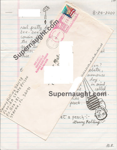 Danny Rolling self portrait letter and envelope both signed - Supernaught True Crime Collectibles