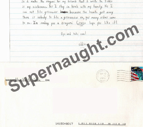 Heriberto Seda letter and envelope set both signed - Supernaught True Crime Collectibles