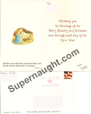 Heriberto Seda Christmas card and envelope set both signed - Supernaught True Crime Collectibles