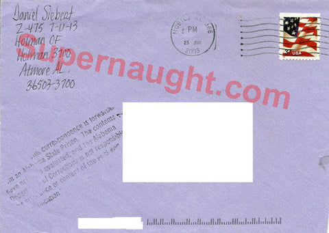 Daniel Siebert Signed Envelope from Death Row - Supernaught True Crime Collectibles