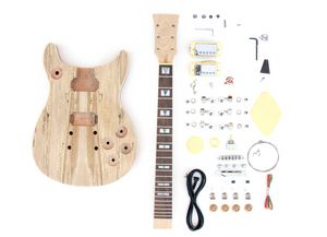 DIY Electric Guitar Kit Double Cut Spalted Maple Build Your Own Guitar Kit