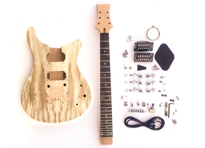 DIY Electric Guitar Kit Spalted Double Cut II Build Your Own Guitar Kit