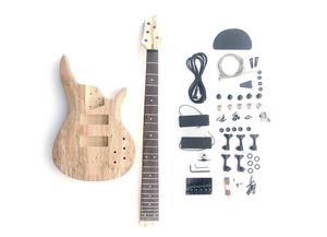 DIY Electric Bass Guitar Kit - 5 String Ash Bass Spalted Maple