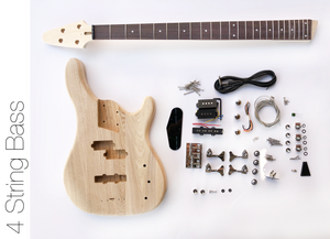 DIY Electric Bass Guitar Kit - 4 String Ash Bass