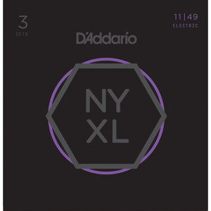 3 Pack - D'Addario NYXL1149 Nickel Wound Electric Guitar Strings, Medium, 11-49