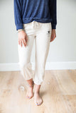 Junior Logo cropped sweats heathered cream