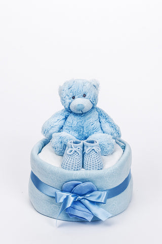 Baby's First Bonnie Bear 1 Tier Nappy Cake - Blue