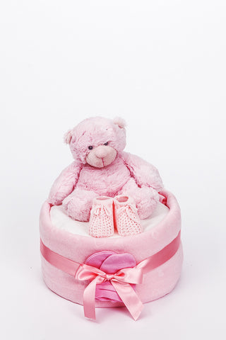Baby's First Bonnie Bear 1 Tier Nappy Cake - Pink