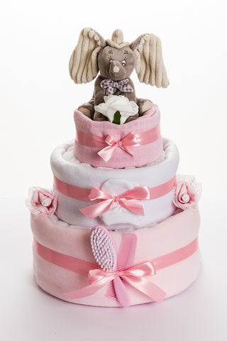 Disney Dumbo 3 Tier Nappy Cake Pink