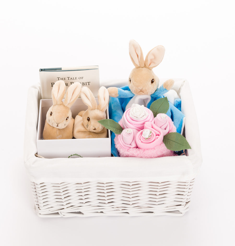 Luxury baby baskets and hampers peter rabbit baby hampers uk peter rabbit baby basket with booties pink negle Images