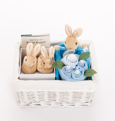 Peter Rabbit Baby Basket with Booties – Blue