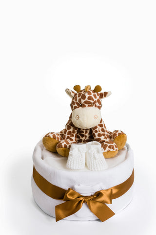 Gino the Giraffe 1 Tier Neutral Nappy Cake