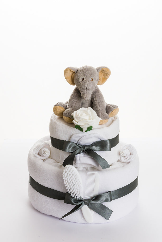 Elliot The Elephant 2 tier nappy cake