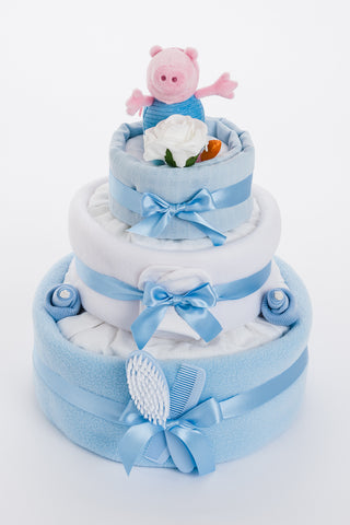 George 3 Tier Nappy Cake - Baby Boy