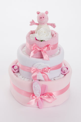 Peppa Pig 3 Tier Nappy Cake – Baby Girl *20% OFF*