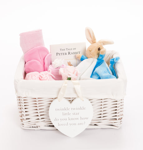 Personalised Peter Rabbit Baby Girl Hamper