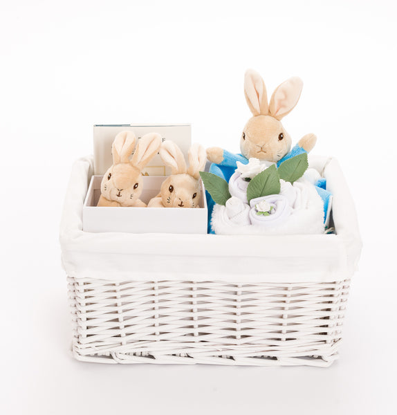 Peter Rabbit Baby Basket with Booties – Neutral
