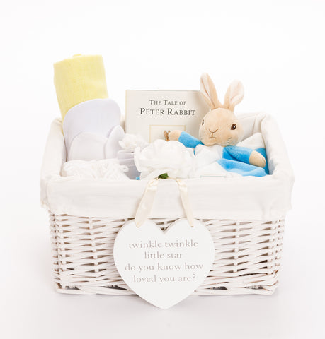 Personalised Peter Rabbit Neutral Baby Hamper