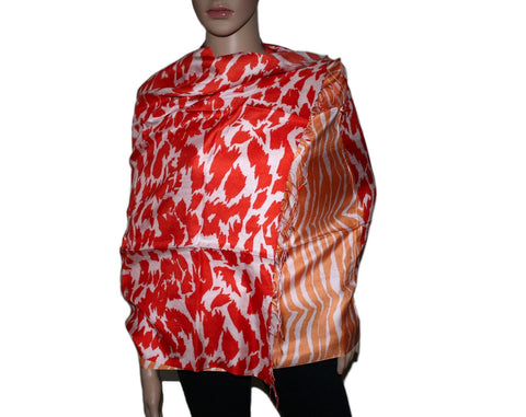 Orange Leopard and Zebra Prints Bamboo scarf - Yaslai - 1