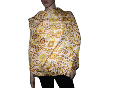 yellow multi-color Aztec print Bamboo scarf - Yaslai - 1