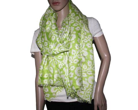 light green white floral print Bamboo scarf - Yaslai - 1