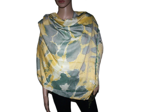 yellow green splash Bamboo scarf - Yaslai - 1
