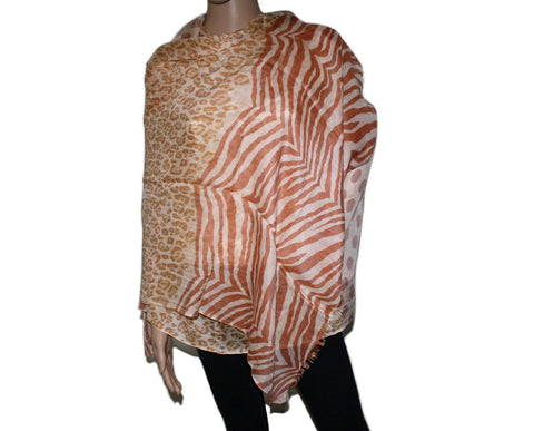 Light Brown Leopard print Bamboo scarf - Yaslai - 1