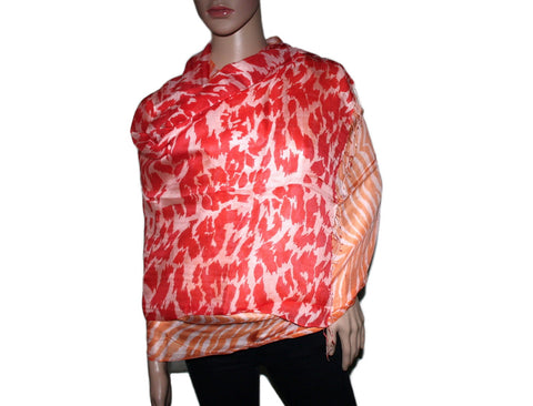 Orange animal print Bamboo scarf - Yaslai - 1