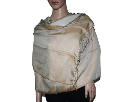 Golden Olive Green Pashmina scarf Water Shawl - Yaslai - 1