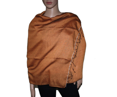 Reddish Orange Pashmina scarf Water Shawl - Yaslai - 1
