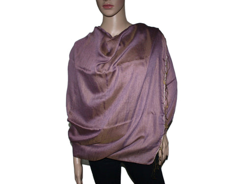 Golden Dark Purple Pashmina scarf Water Shawl - Yaslai - 1