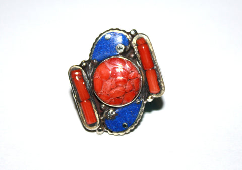 country coral Lapis ring - Yaslai - 1