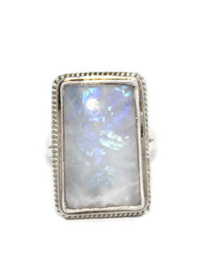 925 Sterling Silver Ring Moonstone Ring Tribal Ring Boho Ring Gypsy Ring - Yaslai - 1