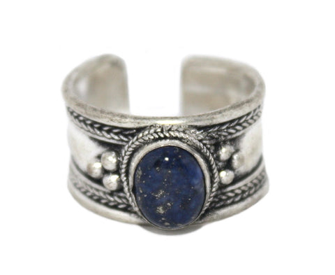 Lapis Ring, Adjustable Ring, yoga ring, Silver ring RB129 - Yaslai - 1