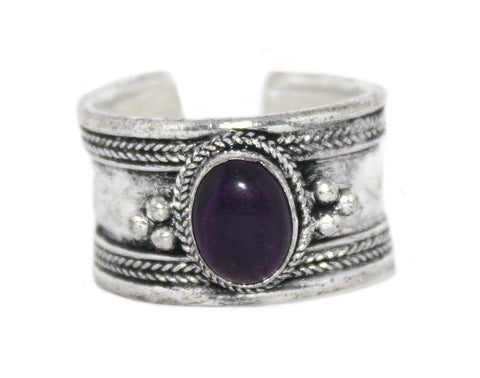 Amethyst Ring, Adjustable Ring, yoga ring, Silver ring RB123 - Yaslai - 1