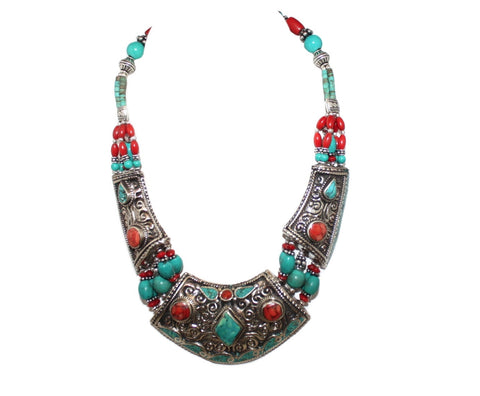 Coral Turquoise Handmade Necklace - Yaslai - 1
