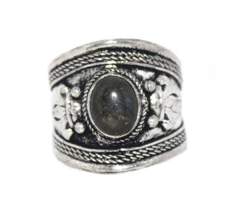 Labradorite Ring, Adjustable Ring, yoga ring, Silver ring RB130 - Yaslai - 1