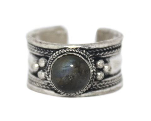 Labradorite Ring, Adjustable Ring, yoga ring, Silver ring RB132 - Yaslai - 1