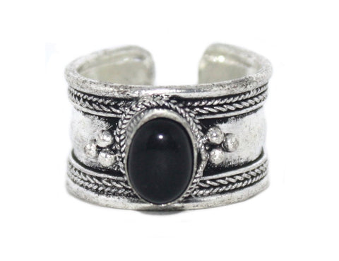 Onyx Ring, Adjustable Ring, yoga ring, Silver ring RB134 - Yaslai - 1