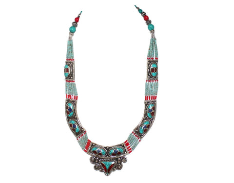 Coral Turquoise Handmade Tibet Necklace - Yaslai - 1
