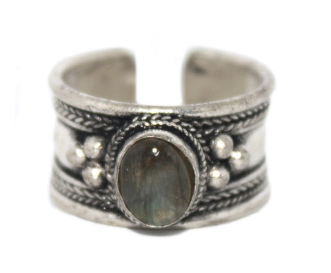 Labradorite Ring, Adjustable Ring, yoga ring, Silver ring RB125 - Yaslai - 1