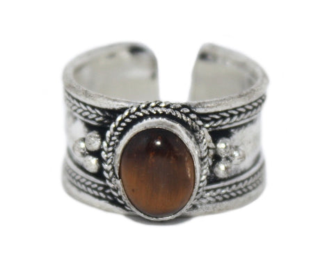 Tigers eye Ring, Adjustable Ring, yoga ring, Silver ring RB128 - Yaslai - 1