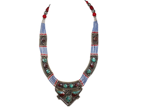 Turquoise Coral Cat eye Lapis Necklace - Yaslai - 1