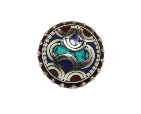 Adjustable lapis coral ring - Yaslai - 1