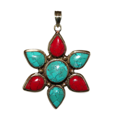 Coral Turquoise pendant - Yaslai - 1