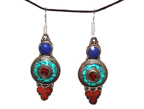 Turquoise Coral Lapis Earrings - Yaslai - 1